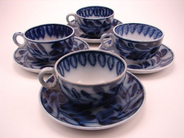 2006: Four Flow Blue Spinach pattern Tea cup and saucer