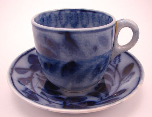 2008: Flow Blue Spinach pattern Tea cup and saucer Set