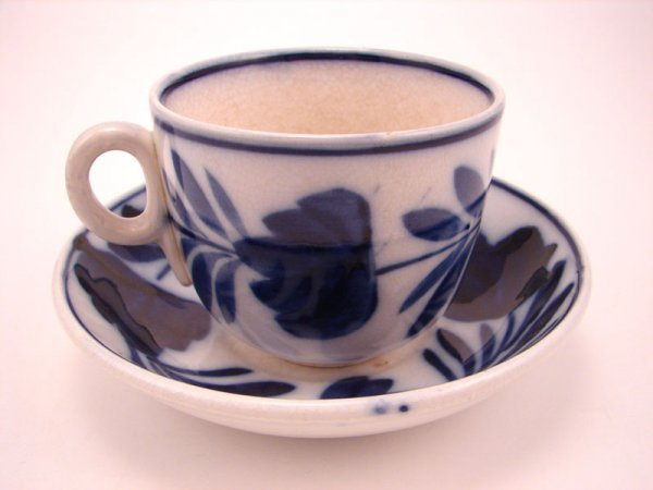 2011: Flow Blue Spinach Pattern Coffee Cup and Saucer S