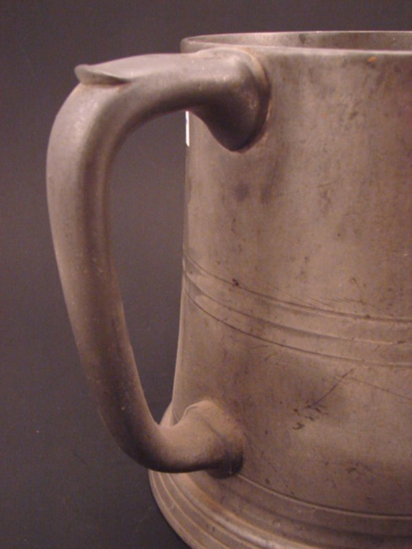 2356: Large Three Handle Pewter Tankard with glass bott - 2
