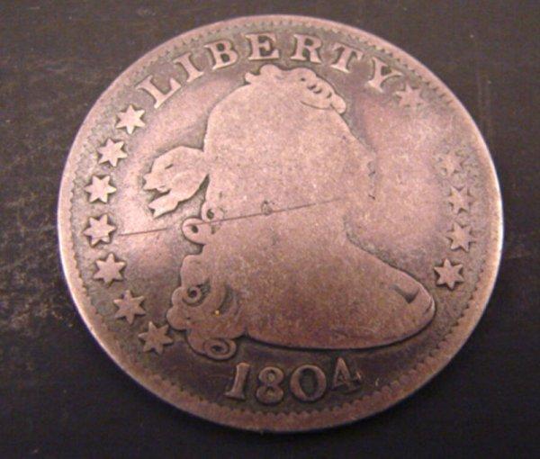 5459: 1804 Draped Bust Quarter. good with light scratch