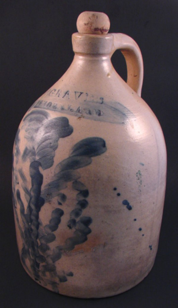 7001: D.W. Graves Westmoreland Stoneware Jug with blue