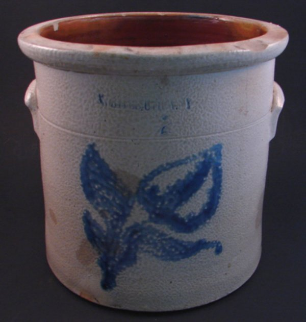 7004: Whites Utica NY Stoneware Crock with blue decorat