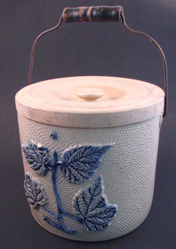 7005: Stoneware Four Gallon Stoneware Crock with cover,