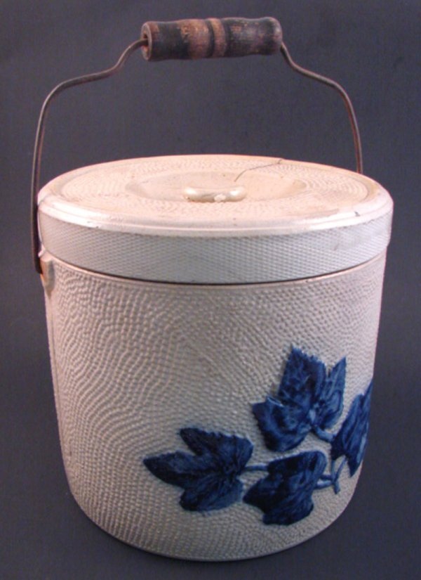 7006: Stoneware Butter Crock. 4 gallon. Blue decoration