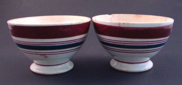 7009: Two Maastricht Pedestal Bowls with multi color ba