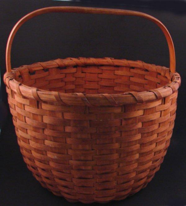 7011: Antique Signed Splint Basket with handle. Marked