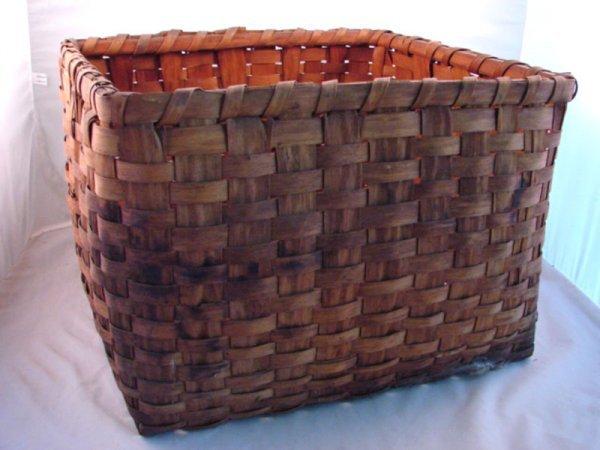 """7012: Antique Splint Basket. 12""""h x 17"""" square."""