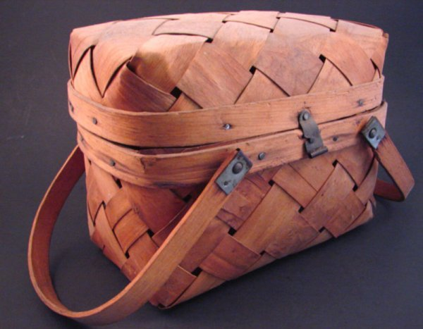 7013: Antique Two Handle Basket Container. Loss to one