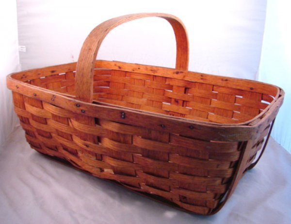 7014: Antique Splint Basket with handle. A few minor lo