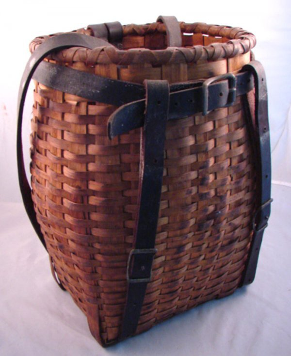 7017: Antique Splint Youth Pack Basket with leather str