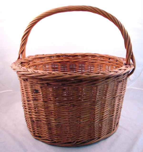 """7018: Antique Willow Basket with handle. 15""""h x 15""""diam"""