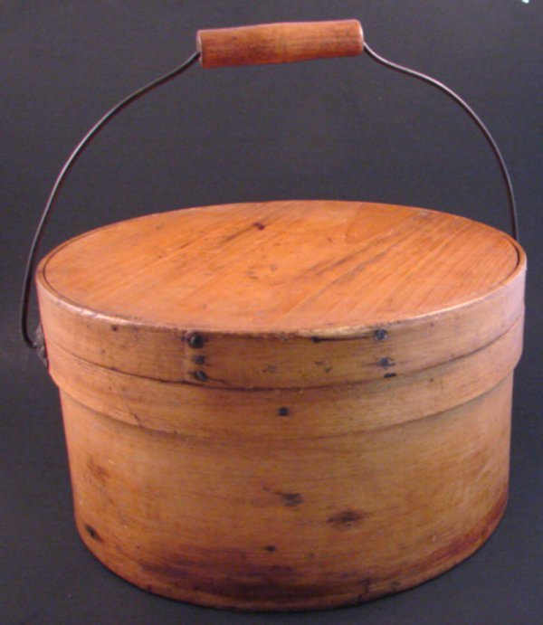 7019: Antique Cheese Barrel with cover and handle. Mino