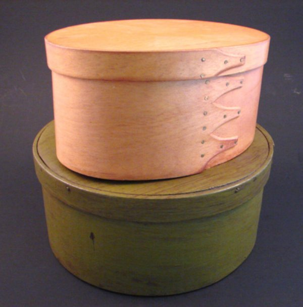 7020: Two Shaker style Boxes. Including antique painted