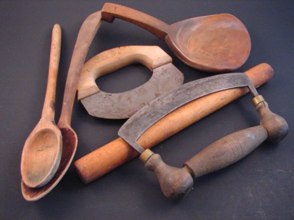 7023: Six Country Primitive Wooden Utensils including c