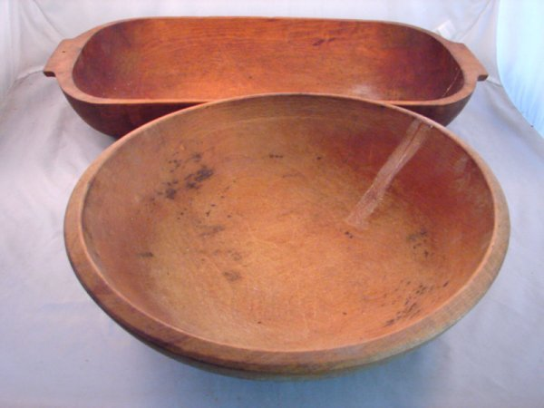 7024: Two Wooden ware Trencher and Bowl. Trencher 3 3/4