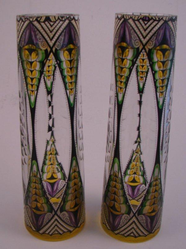 7164: Pair of Art Glass Vases. Probably Czech. Cut back