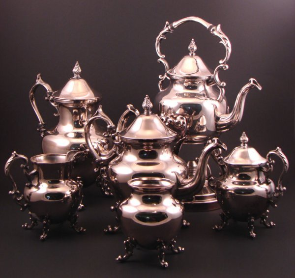1: B.S. Co 6pc Silver plate tea set includes kettle on