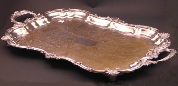 2: Rococo style heavy silver serving tray on four feet.