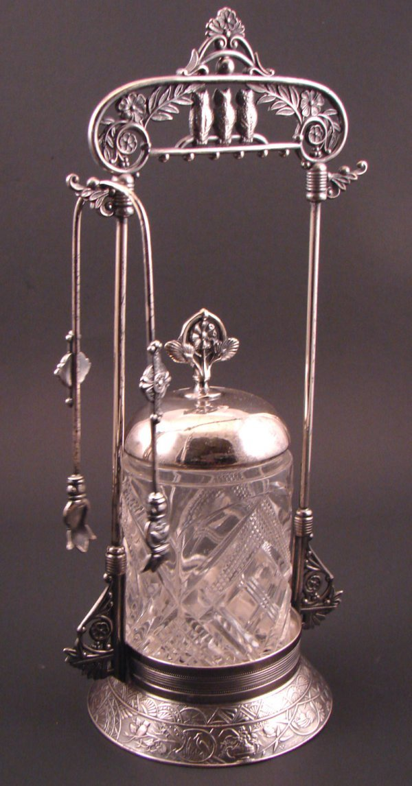 5: Derby Silver plate Victorian pickle caster with owls