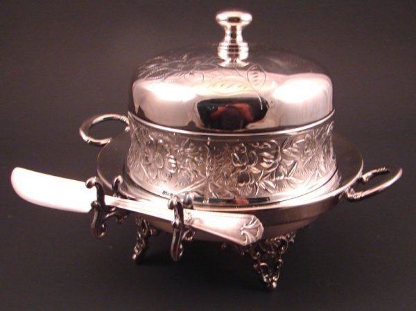 "6: Adelphi Victorian Silver plate butter dish. 6"" x 7 x"