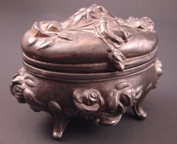 11: Art Nouveau Silver Plate Dresser Box. Well worn, no