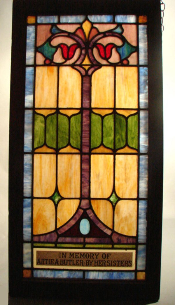 110: Stained and Leaded Glass Architectural Window