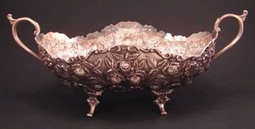 15: M & H. Sterling Silver Repousse Footed Center Bowl