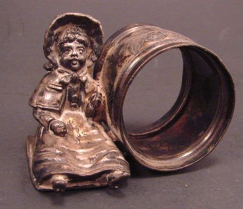 5A: Victorian Kate Greenaway Figural Silver Napkin Hold