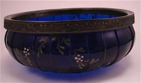Victorian Cobalt glass & Silver Plate Center Bowl