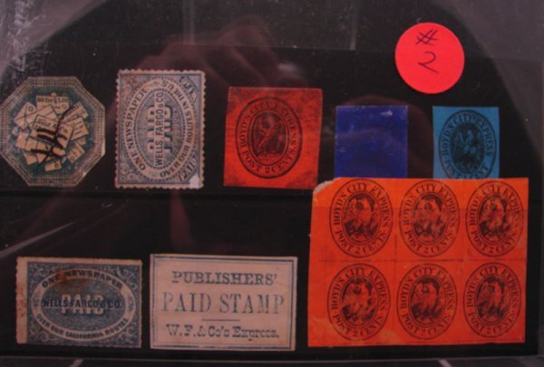 1002: Eight local stamps- one is a block of six 1845-18