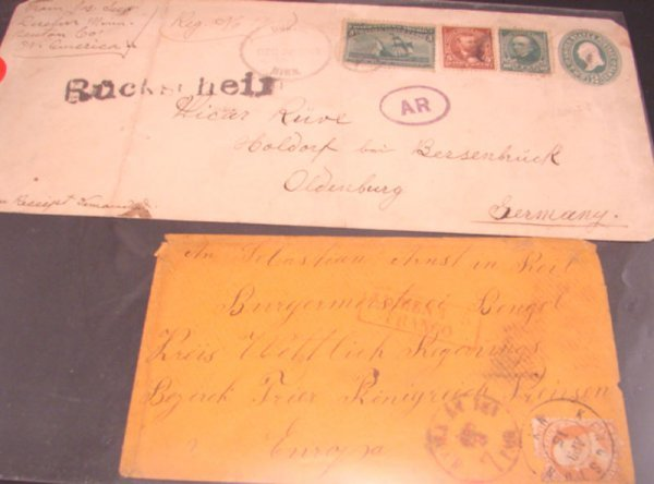 1007: Two U.S. Overseas Covers: 1) 1895 franked with 2