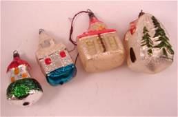 1787: Four Antique Glass Christmas Ornaments. Houses, e