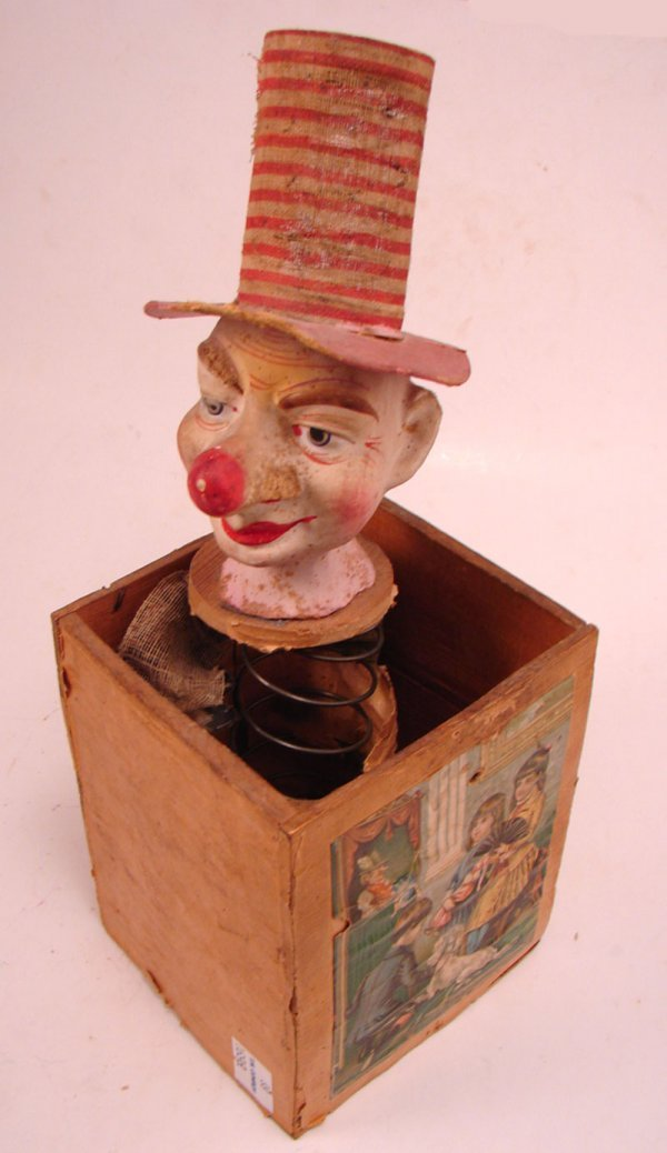 1823: Antique Jack in the Box Toy. Not in working condi