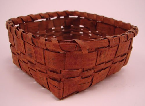 2001: Antique Miniature Splint Basket with stamp decora