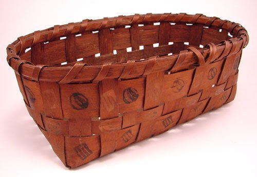 2002: Antique Splint Basket with stamp decoration. Good