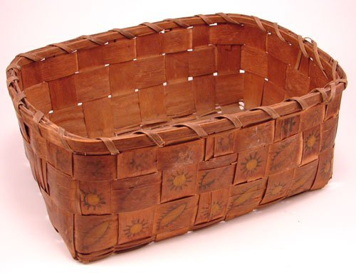 2003: Antique Splint Basket with stamp decoration. Good