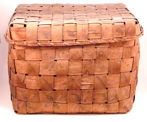2010: Antique Stamp Decorated Splint Basket with cover.