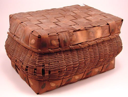 2011: Antique Stamp Decorated Covered Basket. Wear alon