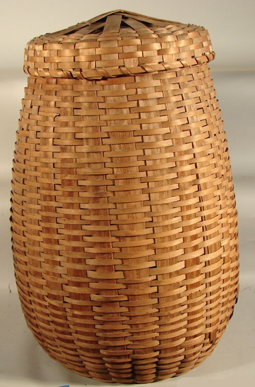 "2019: Antique Splint Covered Tall Basket. ""Kicked In"" b"
