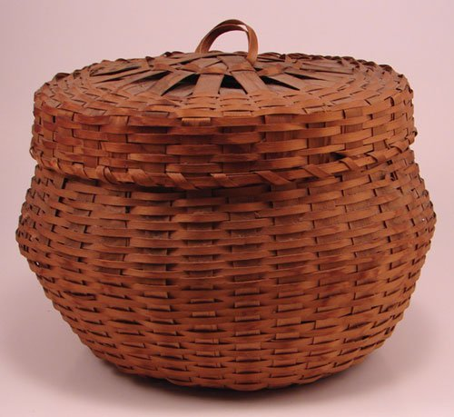2020: Antique Splint Basket with cover. Good condition