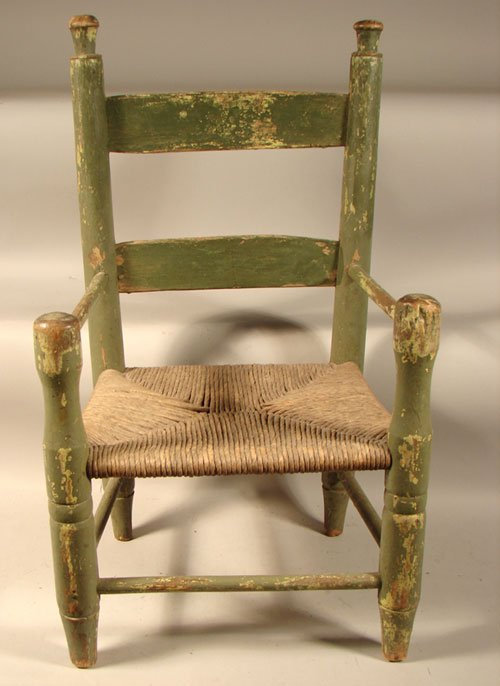 2022: Antique Country Primitive Child's Chair. Ladder b