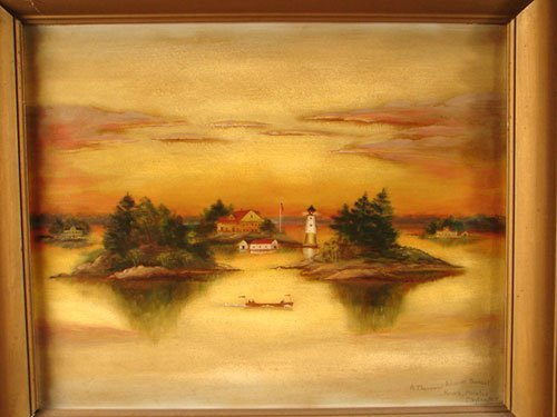 2158: Antique Signed Oil Painting on Canvas, Landscape