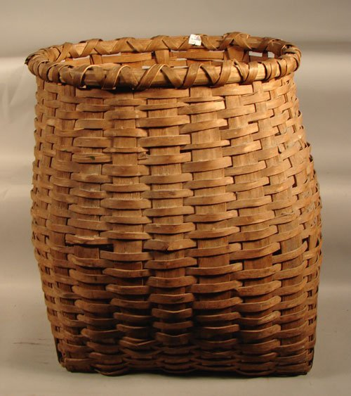 "2019A: Antique Splint Pack Basket. 19 1/2""h x 19""w x 15"