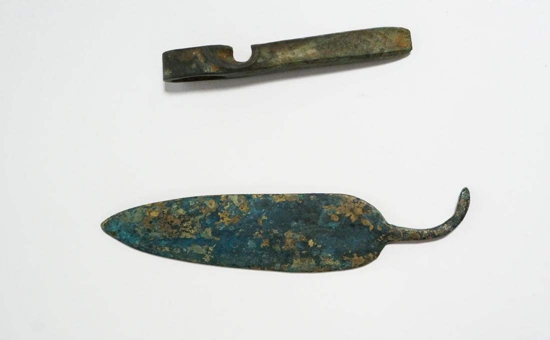 2 ANCIENT BRONZE AGE AXE HEAD AND KNIFE - 3