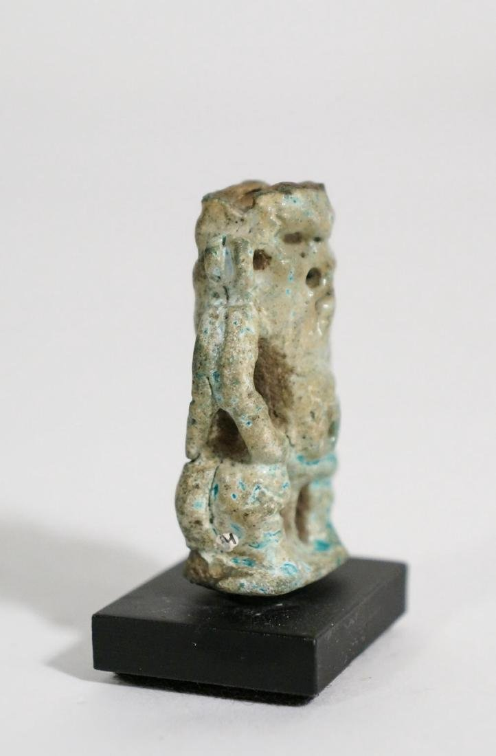 ANCIENT EGYPTIAN TURQUOISE FAIENCE BES AMULET - 2