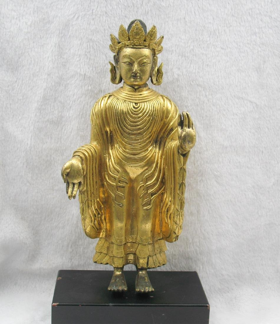 CHINESE QING DYNASTY GILT BRONZE STANDING BUDDHA
