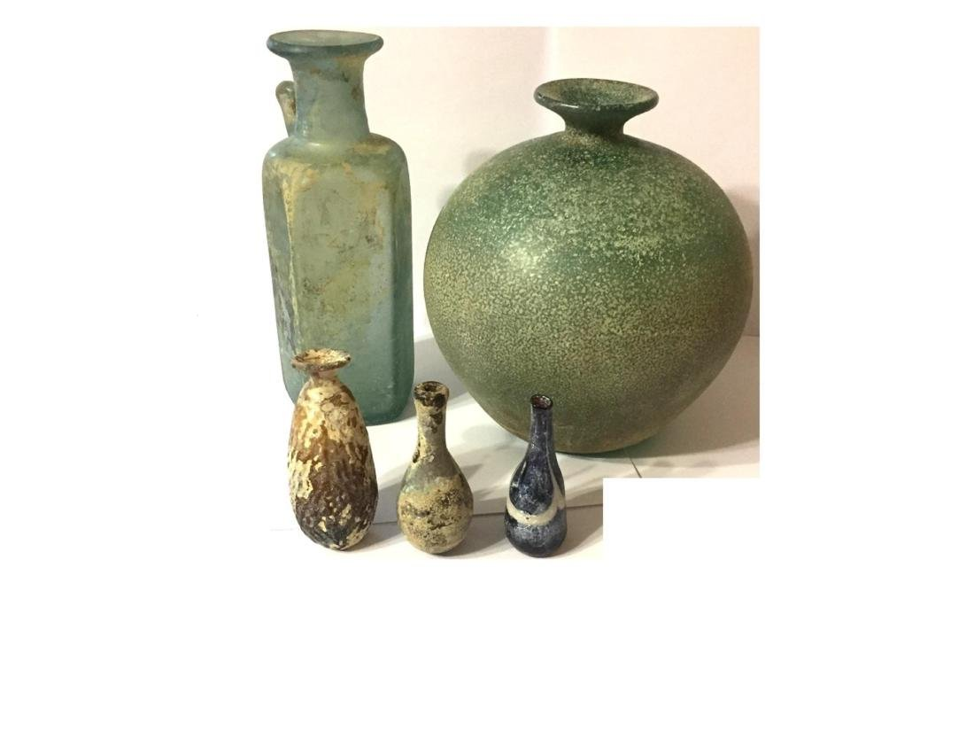 GROUP OF 5 ANCIENT  ROMAN GLASS - 2