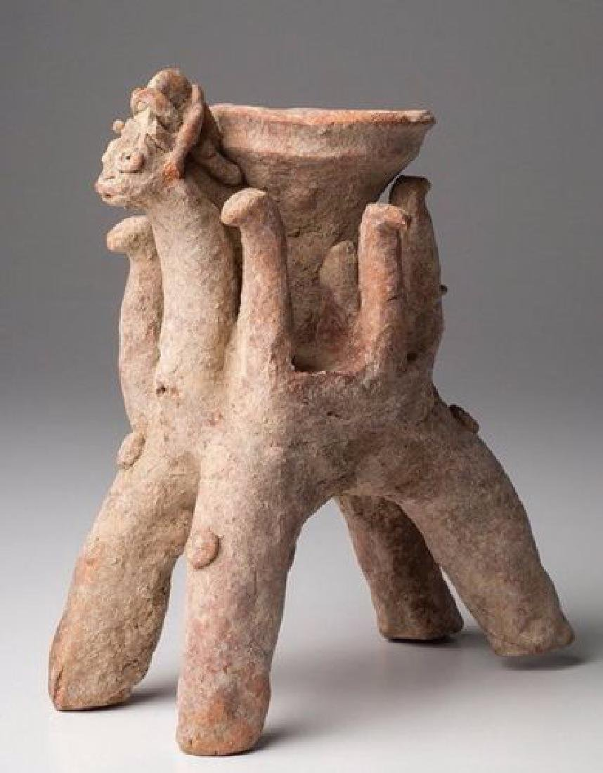 ANCIENT ASSYRIYAN CLAY OFFERING BOWL ON HORSEBACK - 3