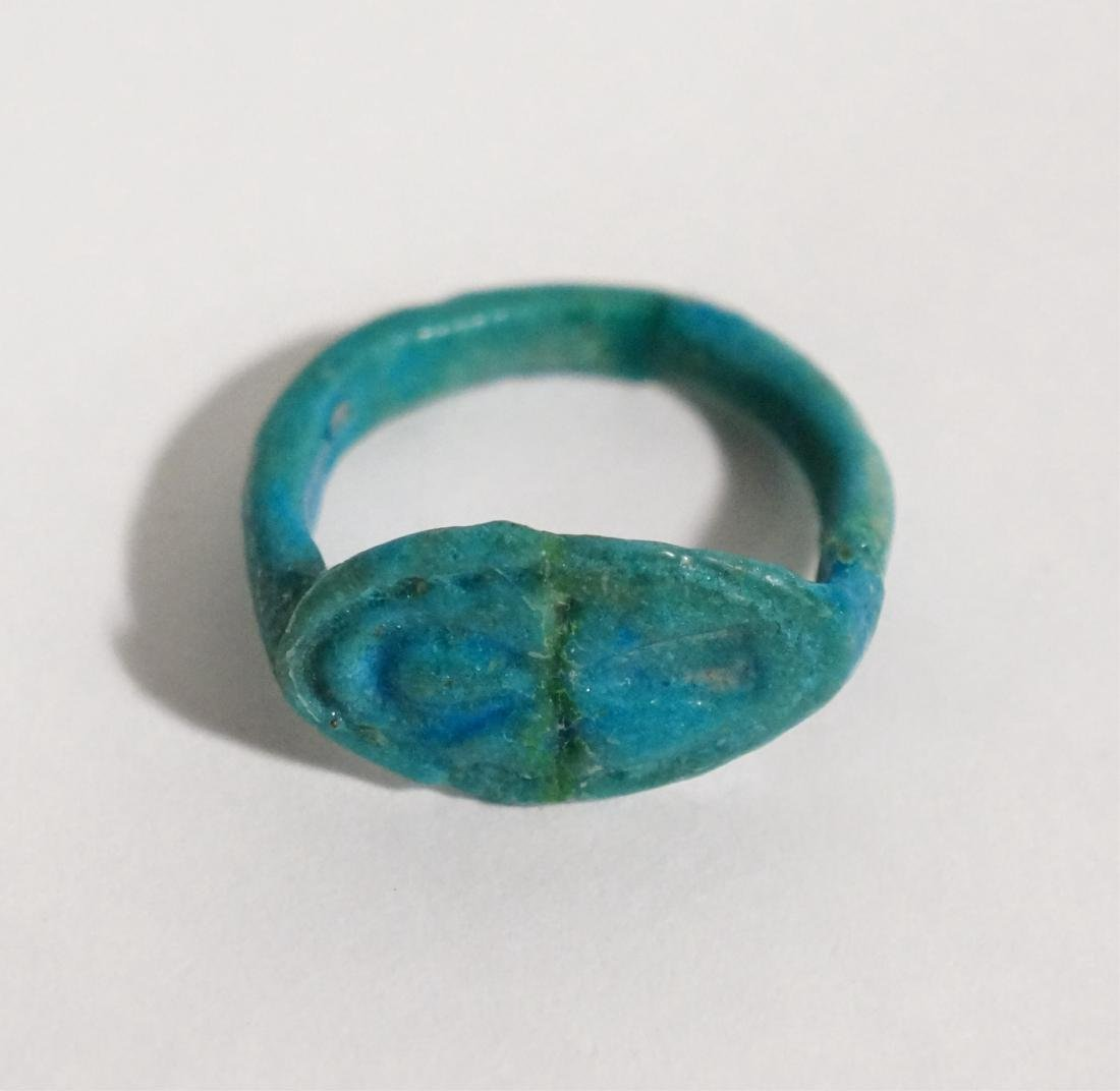 ANCIENT EGYPTIAN BLUE FAIENCE RING - 2